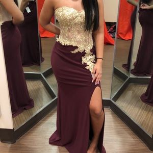 maroon prom dress with gold detailing